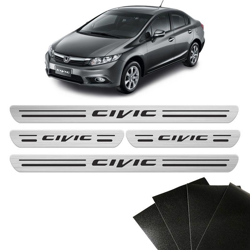 Kit Soleira Honda Civic 2001/ New Civic E G10 8 Peças Prata