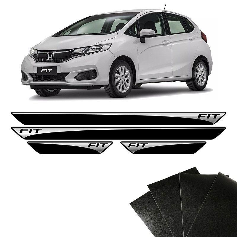 Kit Soleira Honda Fit 15/18 Com Adesivo Protetor de Porta