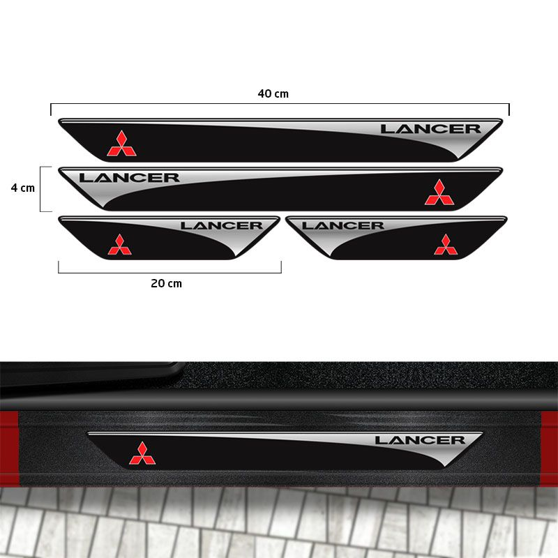 Kit Soleira Lancer 2012/2019 Com Adesivo Protetor de Porta