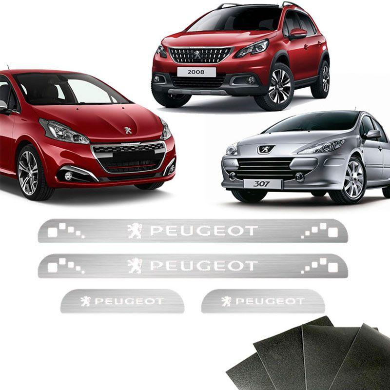 Kit Soleira Peugeot 208 307 207 2008 Com Protetor De Porta