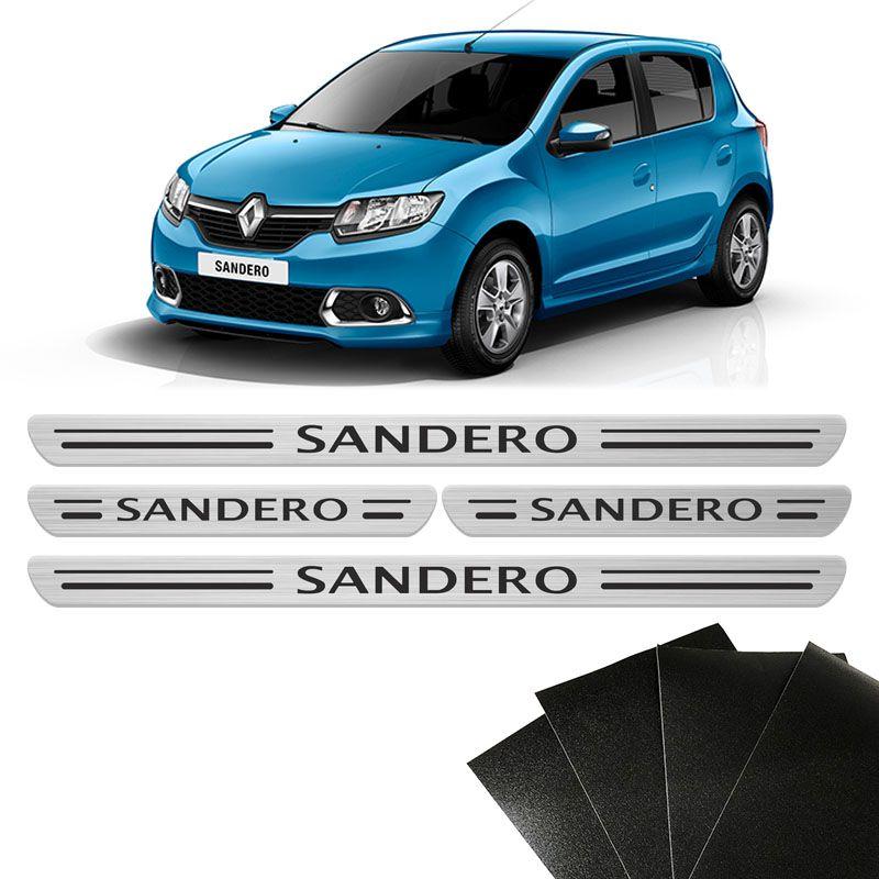 Kit Soleira Porta Sandero 2015/2020 Prata 8 Peças Protetoras