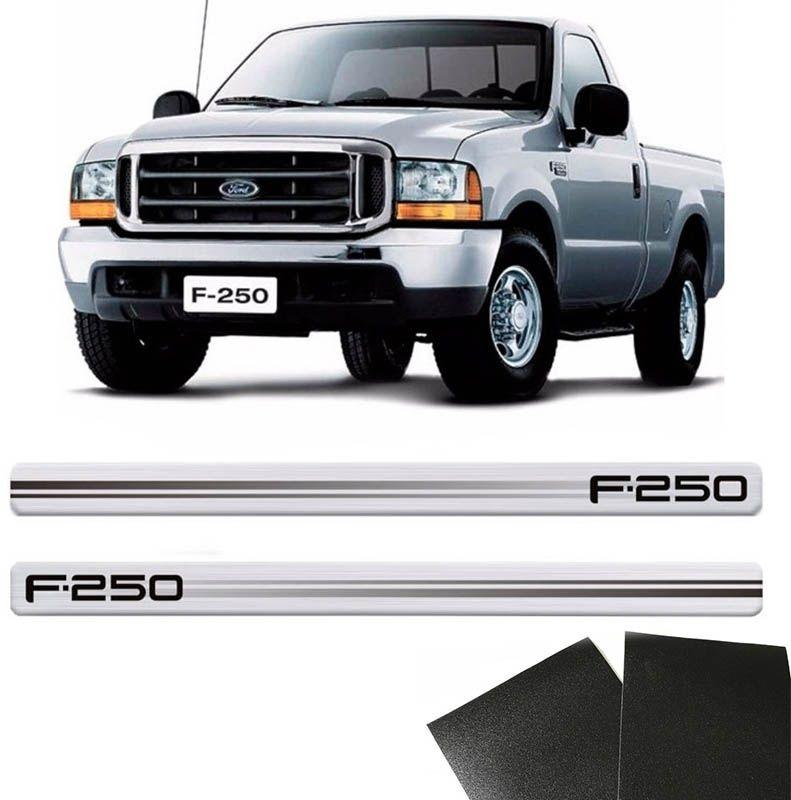 Kit Soleira Prata Ford F-250 2 Portas E Protetor Black Over