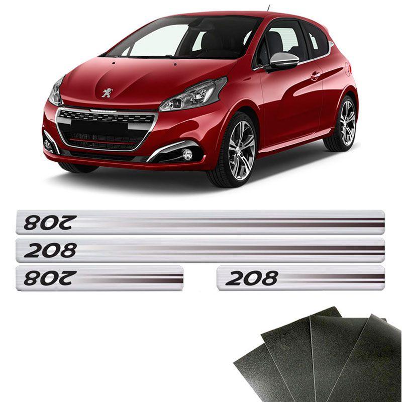 Kit Soleira Prata Peugeot 208 2013/2020 E Protetor De Porta