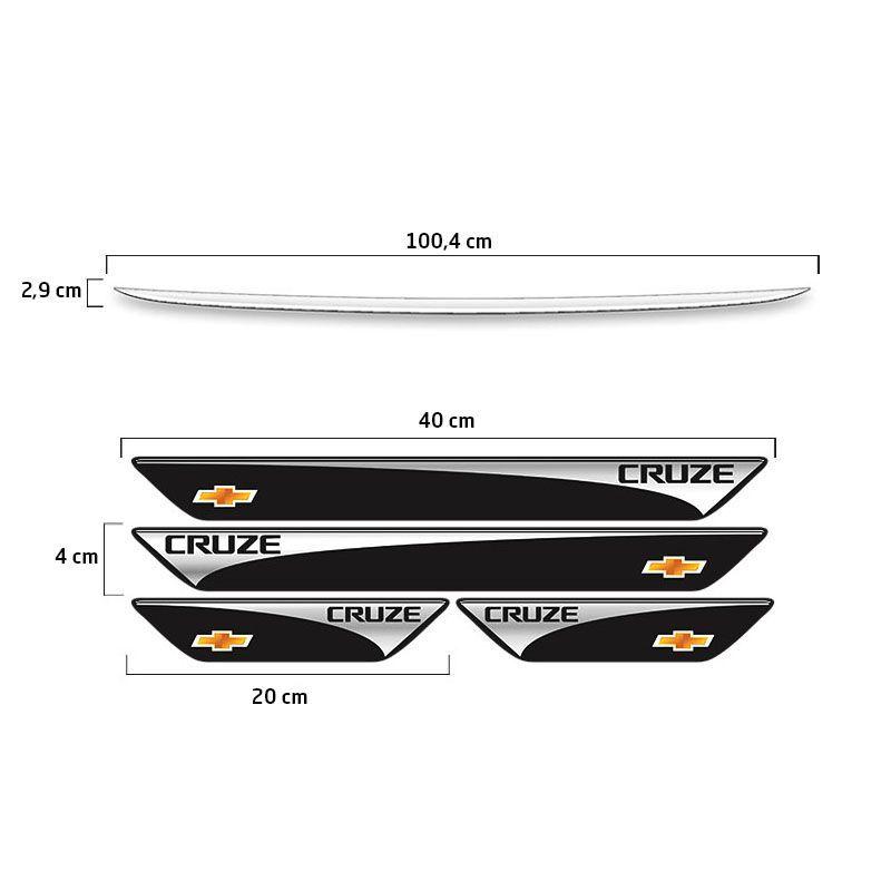 Kit Soleira Protetora Cruze Hatch 17/18 + Friso Porta-Malas