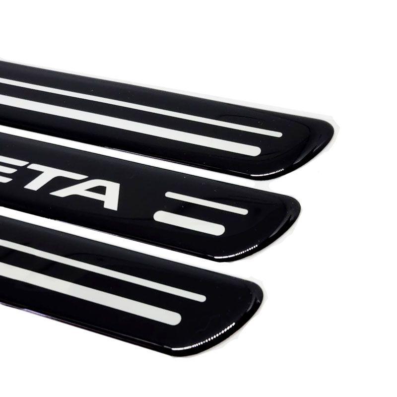 Kit Soleiras Da Porta Peugeot 408 Preta 8 Peças Protetoras
