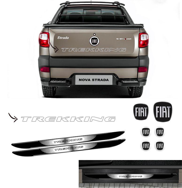 Kit Strada Trekking Prata + Emblemas + Soleira C/ Black Over