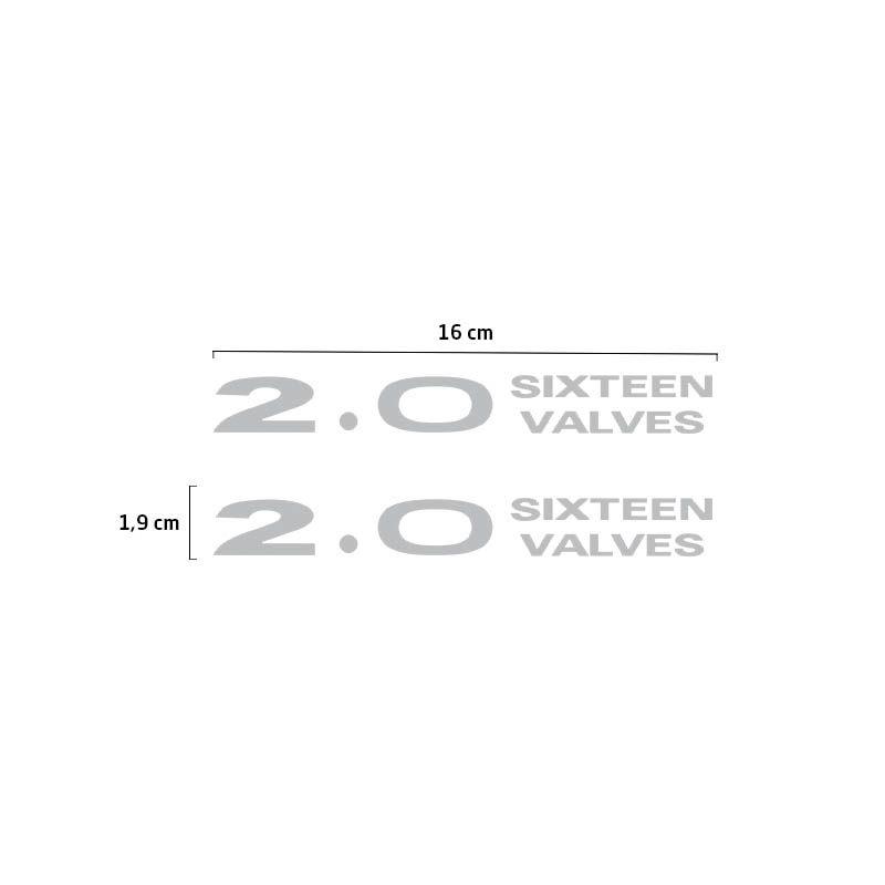 Par Adesivos 2.0 Sixteen Valves Cinza Pajero Tr4 2.0 Emblema
