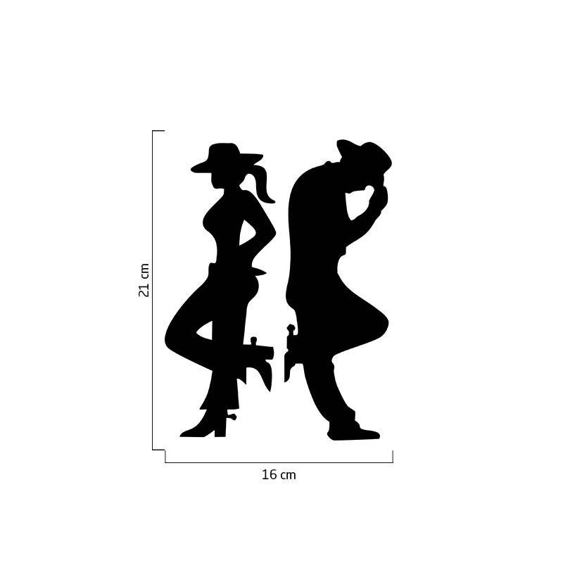 Par Adesivos Casal Country Cowboy Cowgirl Carro Moto Preto