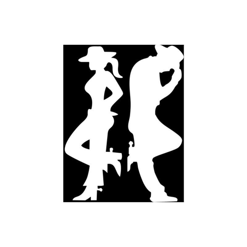 Par Adesivos Casal Country Cowboy Cowgirl Branco