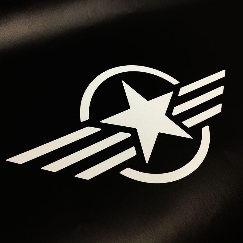 Par Adesivos Estrela Militar Tanque Intruder Símbolo Branco