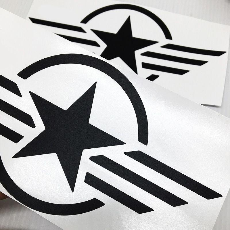 Par Adesivos Estrela Militar Tanque Intruder Símbolo Preto