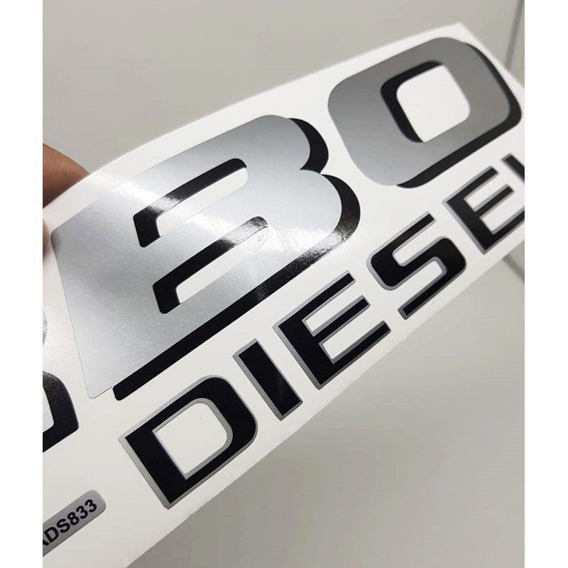 Par Adesivos Turbo Diesel F-250 Ford Prata Preto Caçamba