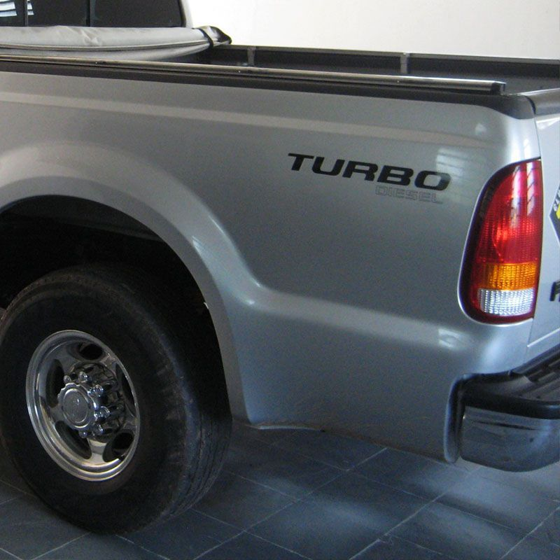 Par Adesivos Turbo Diesel F-250 Ford Preto Prata Caçamba