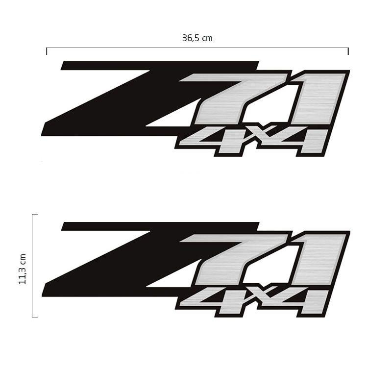 Par Adesivos Z71 4x4 S10 Silverado D20 Emblema lateral Preto