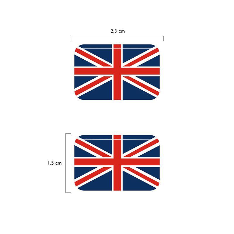 Par Bandeiras Inglaterra Placa Carro Moto Adesivas Resinadas