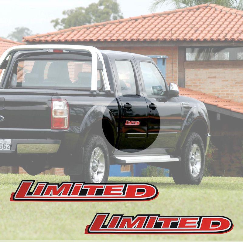 Par de Adesivo Ranger 10/12 Limited Emblema Lateral Vermelho