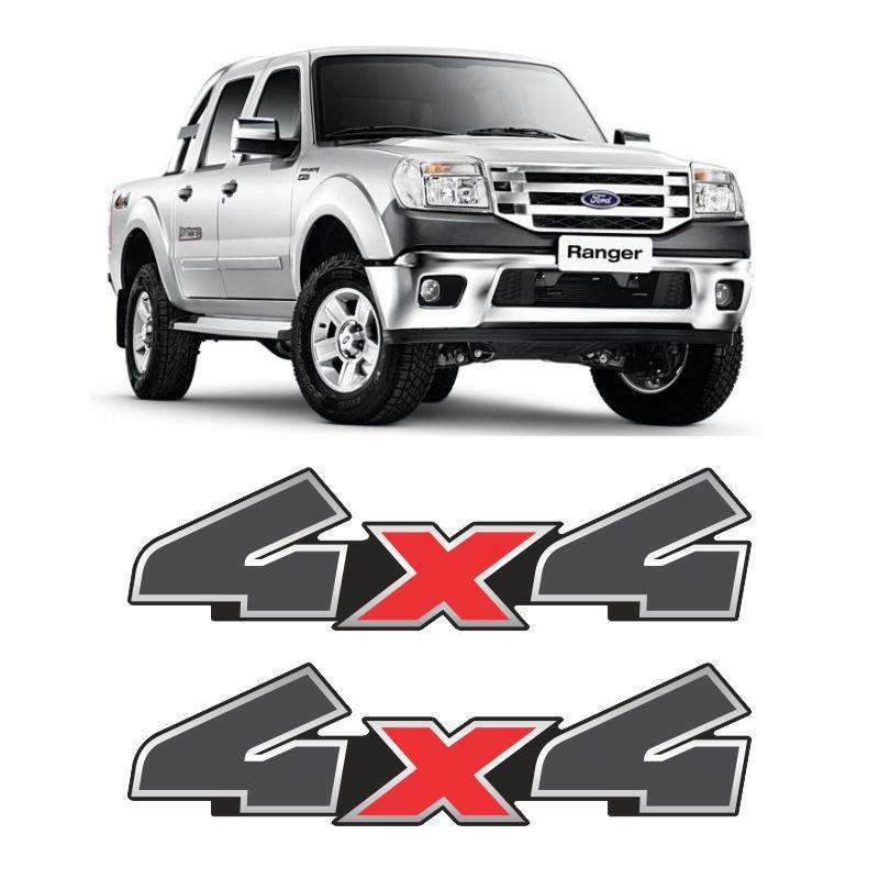 Par De Adesivos 4x4 Ford Ranger 2010, 2011 e 2012 Grafite/Preto