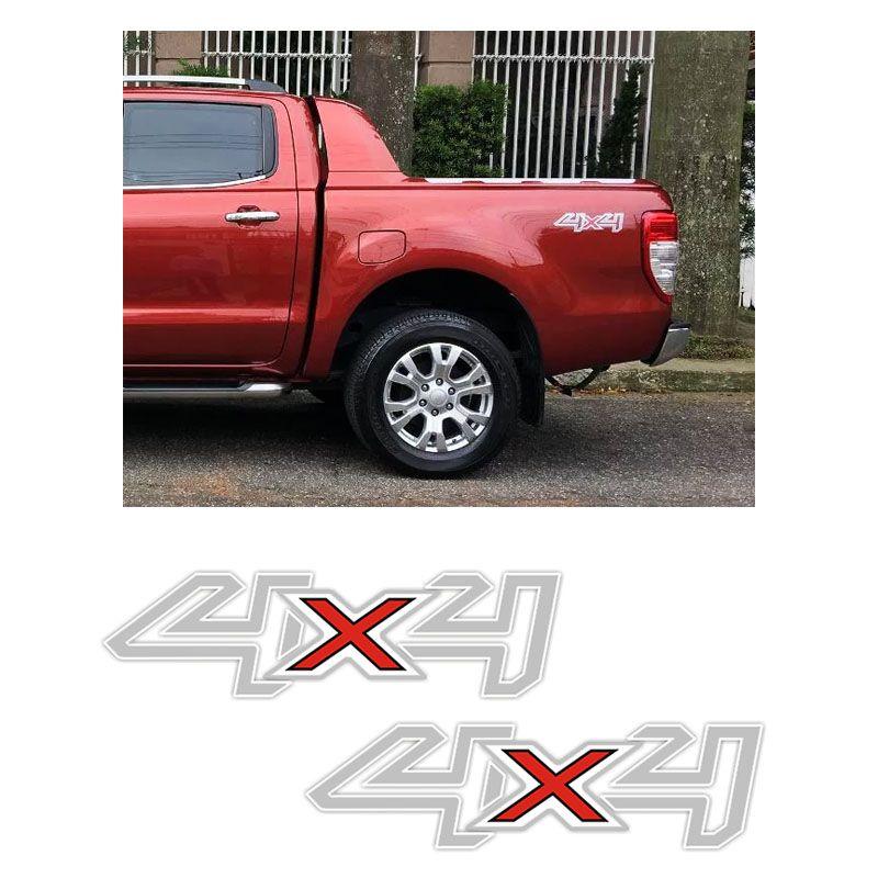 Par de Adesivos 4x4 Ford Ranger 2017/2018 Cinza e Branco