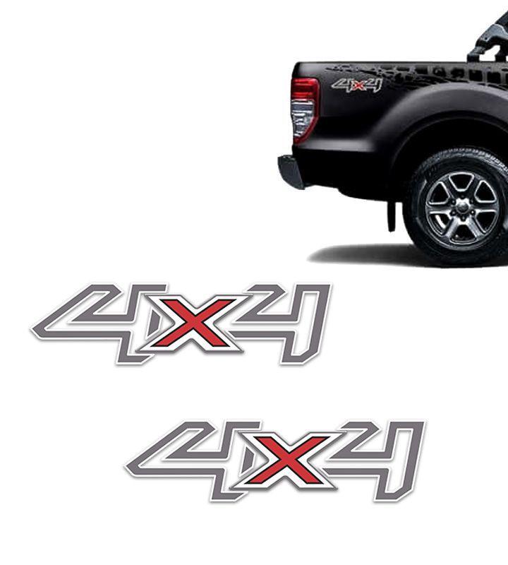 Par de Adesivos 4x4 Ford Ranger 2017/2018 Grafite e Branco