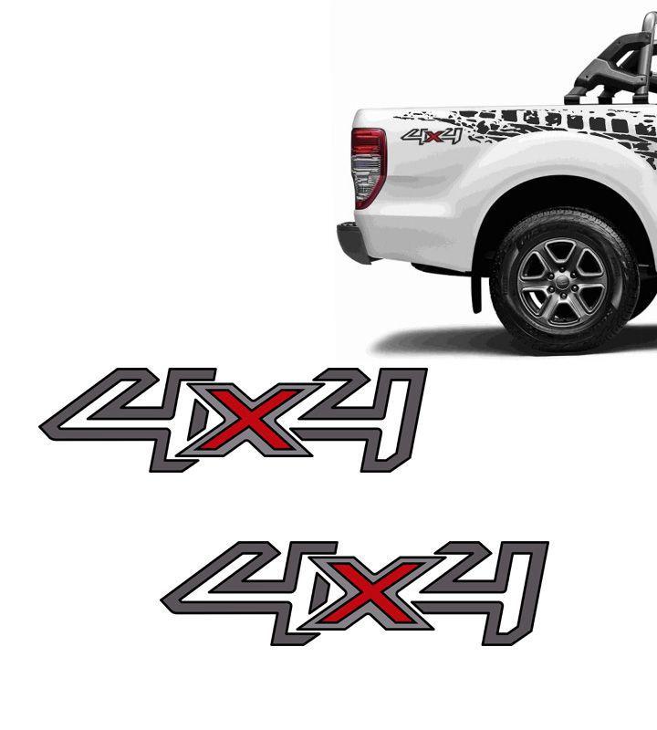 Par de Adesivos 4x4 Ford Ranger 2017/2018 Grafite e Preto