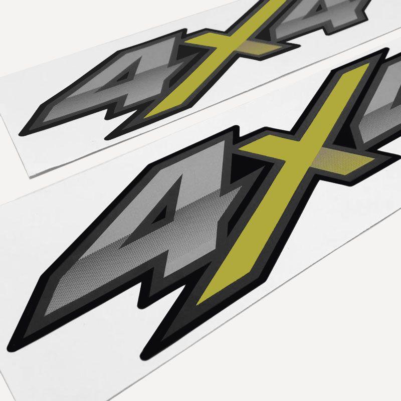 Par De Adesivos 4x4 Hilux Flex 2016 2017 2018 Emblema Verde