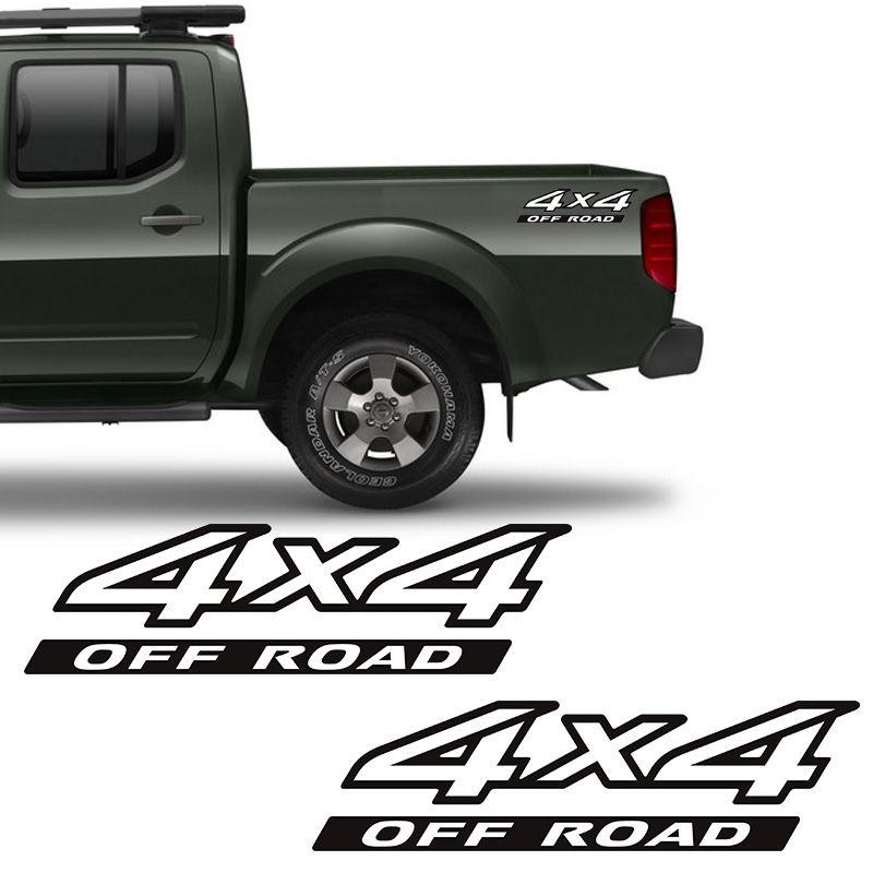 Par de Adesivos 4x4 Off Road Nissan Frontier 09/16 Branco