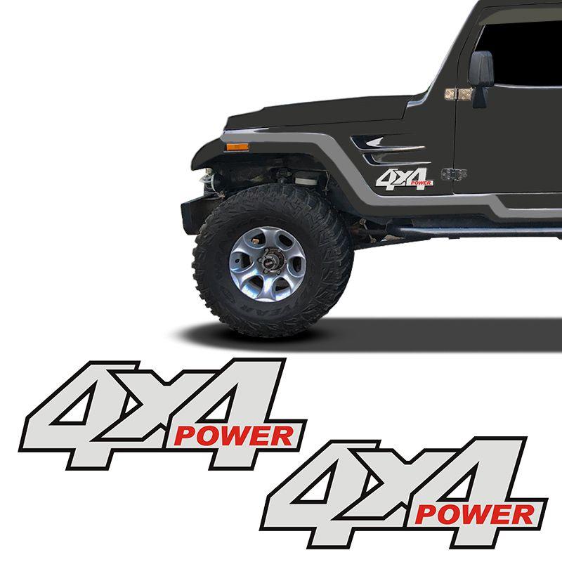 Par De Adesivos 4x4 Power Troller 2001/04 Emblema Refletivo