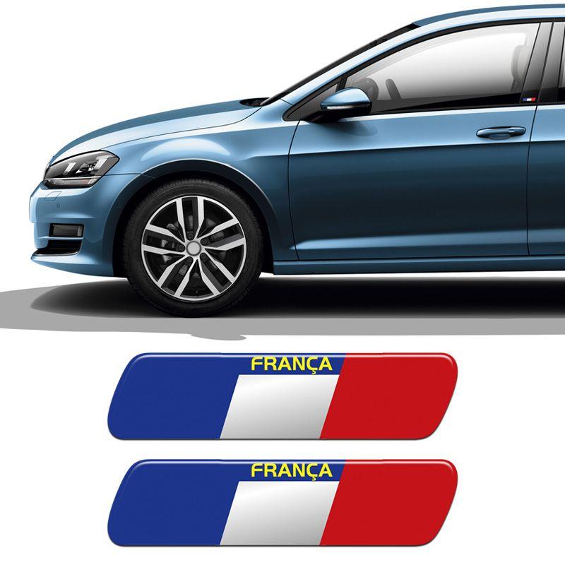Par De Adesivos Bandeira França Emblema Coluna Resinado