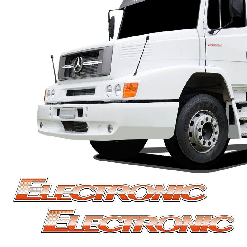Par De Adesivos Electronic Mercedes Benz Emblemas Caminhão