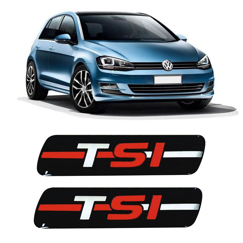 Par De Adesivos Emblema Coluna Tsi Vw Golf Up Polo Resinado