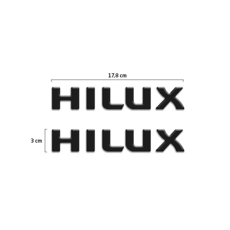 Par de Adesivos Emblema Hilux Preto Resinado Santo Antônio