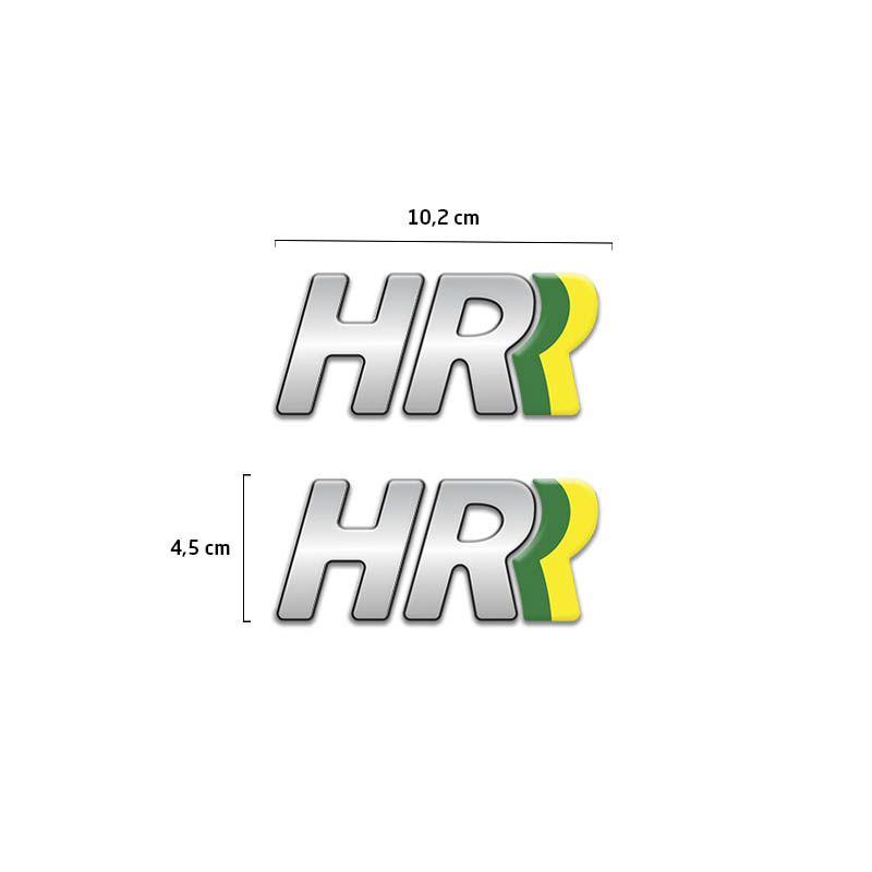 Par de Adesivos Emblema Hr Resinado Hyundai Hr Cromado