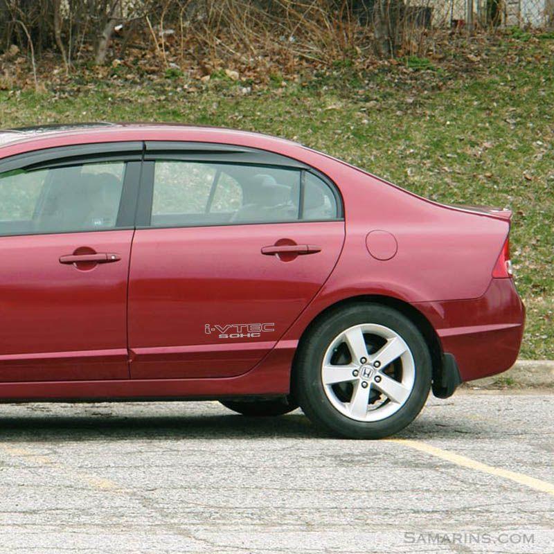 Par de Adesivos Laterais Honda Civic I-vtec Sohc Prata