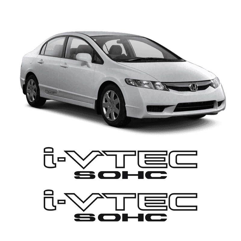 Par de Adesivos Laterais Honda Civic I-vtec Sohc Preto