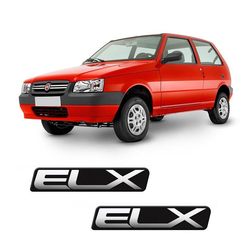 Par Adesivos Elx Fiat Uno Mille Emblema Resinado Para-Lama
