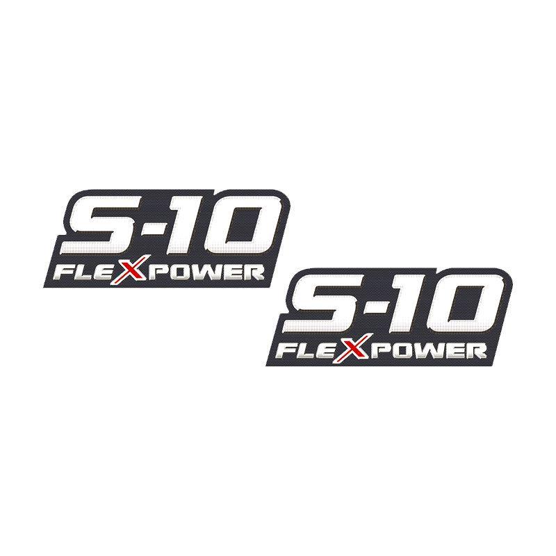 Par De Adesivos S10 Flex Power 09 2010 2011 Emblema Vermelho