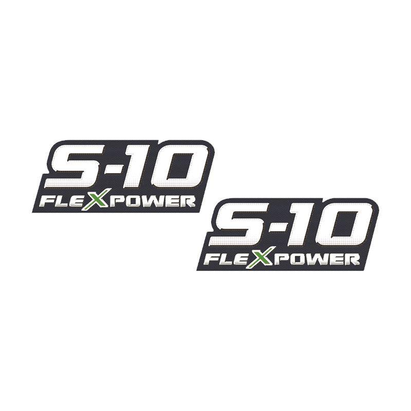 Par De Adesivos S10 Flex Power 2009 2010 2011 Emblema Verde
