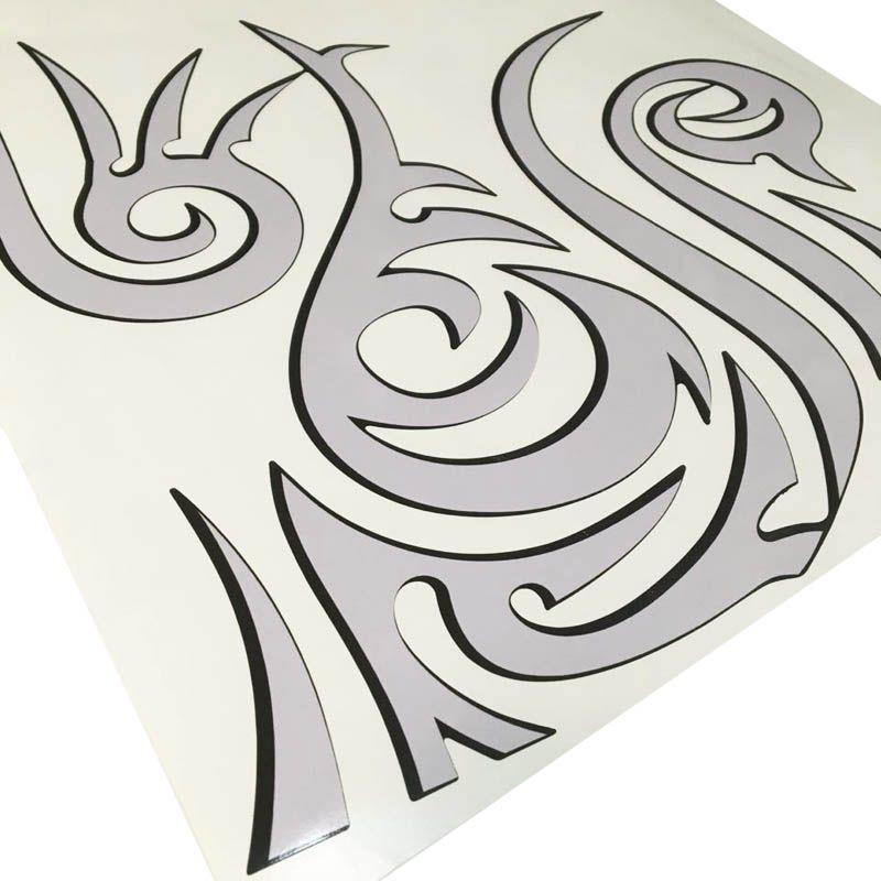 Par De Adesivos Sandero Stepway 08/14 Tattoo Tribal Prata
