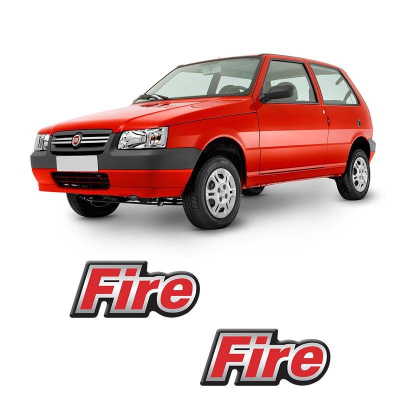 Par de Adesivos Resinados Fire Fiat Uno Mille Fire 2002/2003
