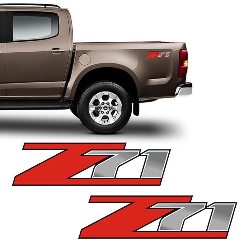 Par De Adesivos Z71 S10 Emblema Vermelho