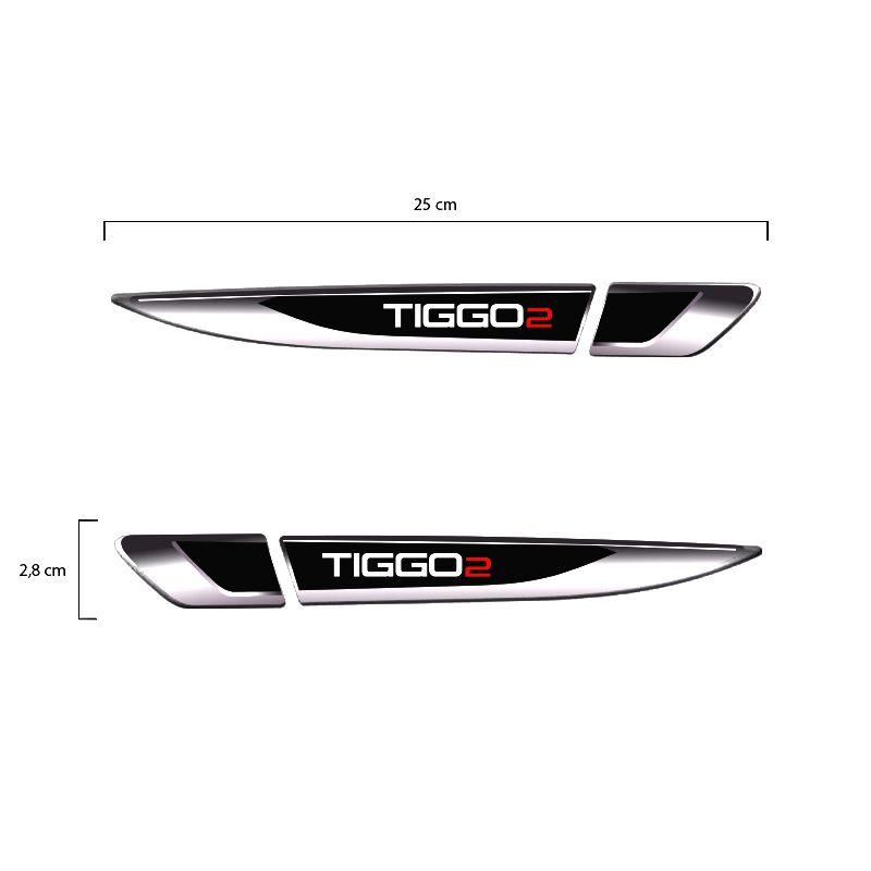Par De Aplique Lateral Chery Tiggo 2 2019 Emblema Resinado