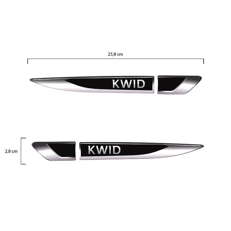 Par De Aplique Lateral Renault Kwid 2017,2018 e 2019 Emblema Resinado