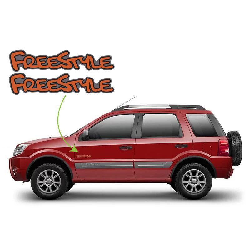 Par de Emblemas Adesivo Freestyle Ford Ecosport Laranja