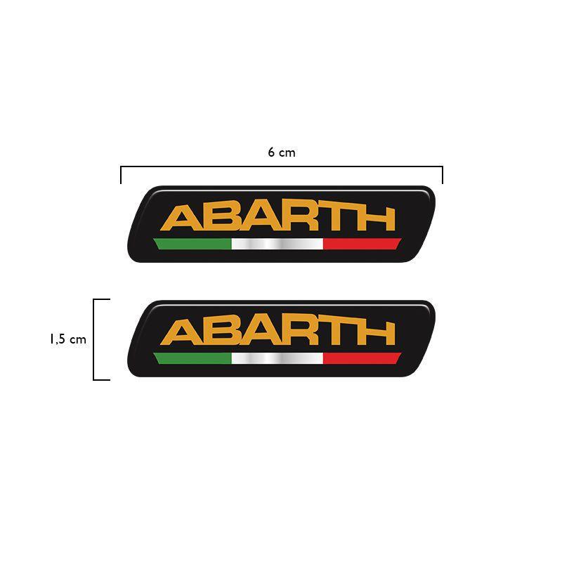 Par De Emblemas Coluna Abarth Linha Fiat Adesivo Resinado
