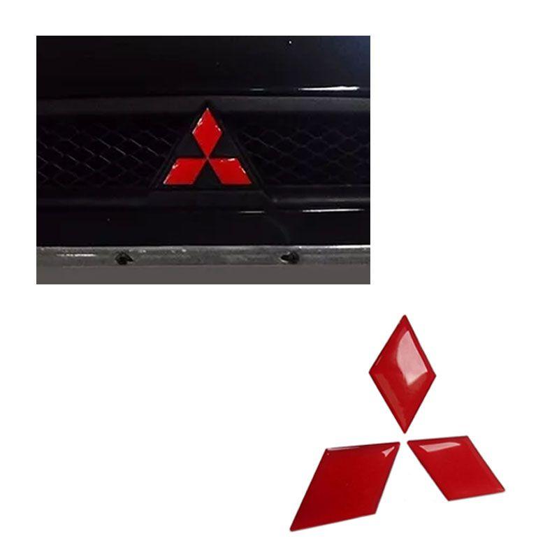 Par de Emblemas L200 Triton 2017 Logo Mitsubishi Refletivo