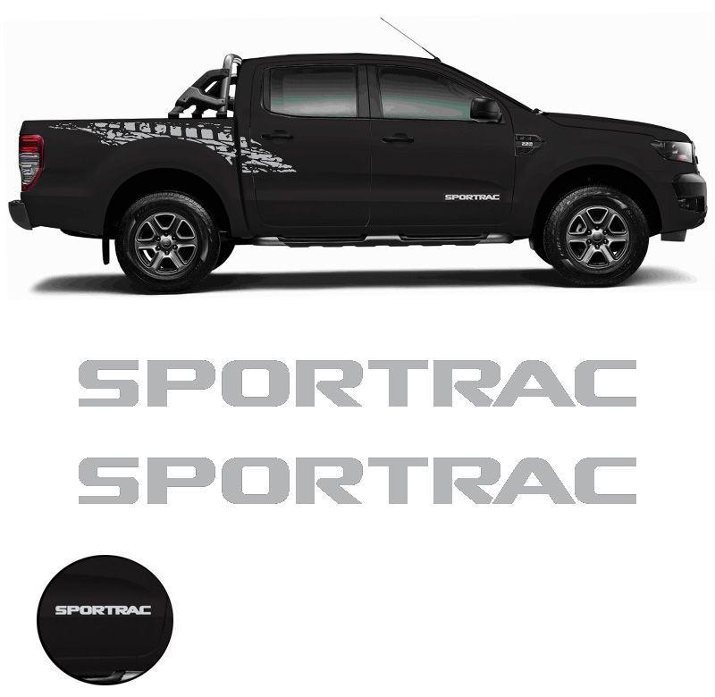 Par de Emblemas Sportrac Ford Ranger 2018 Adesivo Prata