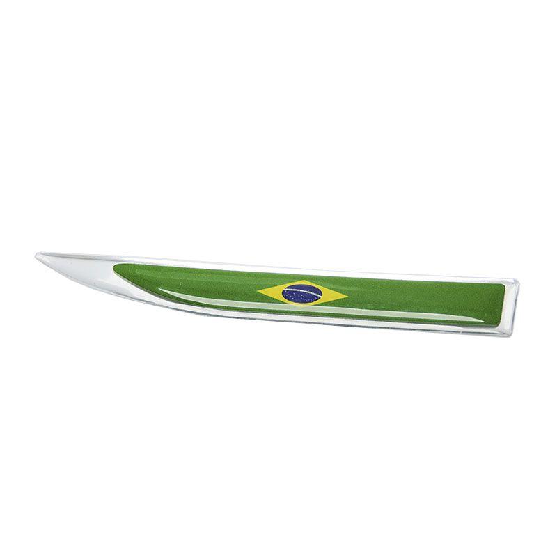 Par De Protetores Paralama Bandeira Brasil Aplique Resinado