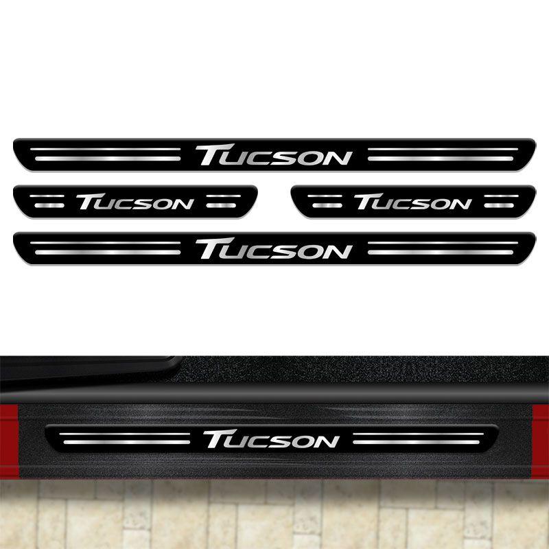 Soleira Da Porta Tucson 2006/2020 8 Peças Protetora Preta