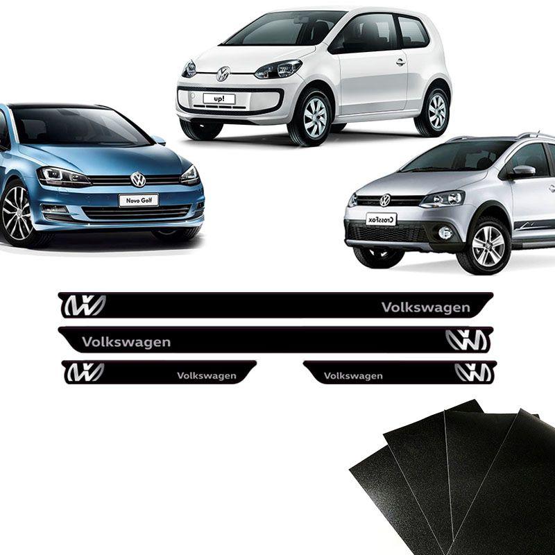 Soleira Preta Volkswagen Golf Polo Fox E Protetor De Porta