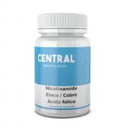 Nicotinamida 100mg + Zinco 25mg + Cobre 3 mg + Ácido fólico 500mcg - 60 cápsulas - Anti Acne